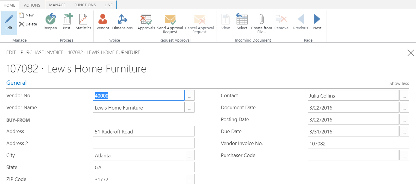 Microsoft Dynamics For Financials Create Purchasing Invoice - Invoice 365