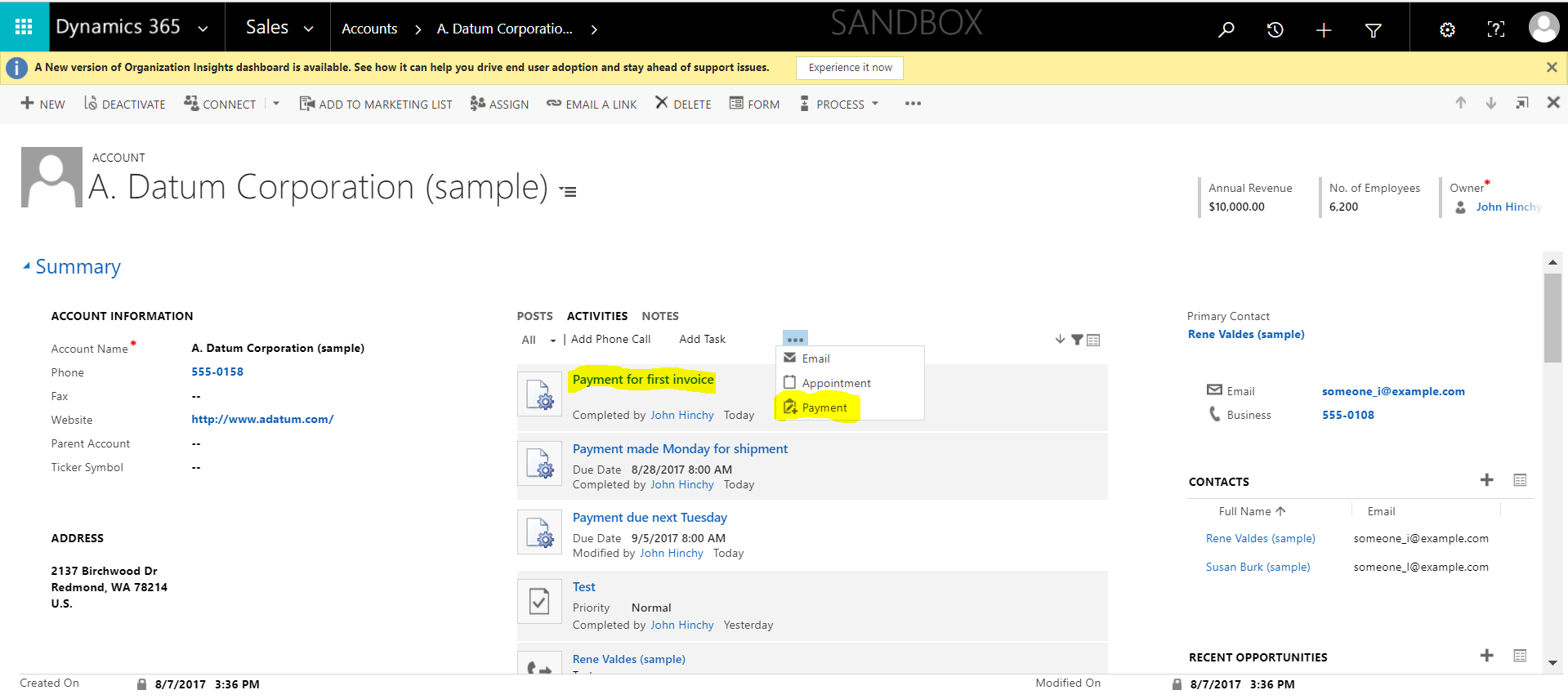 Create Custom Activity Entities in Dynamics 365 for Sales