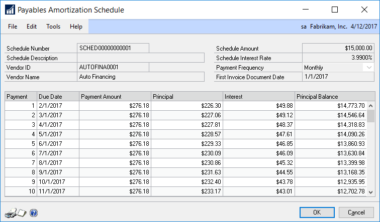 amortization schedule payments