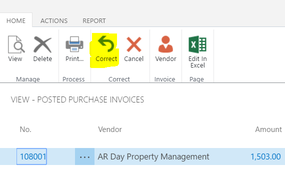 Dynamics For Financials Correct Or Cancel Unpaid Purchase Invoices - Invoice 365