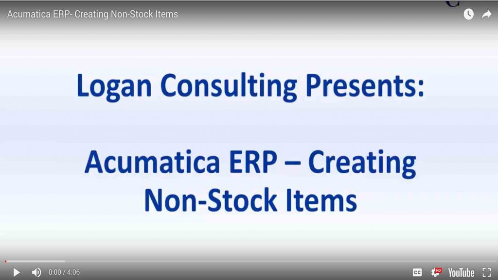 Acumatica ERP- Creating Non-Stock Items