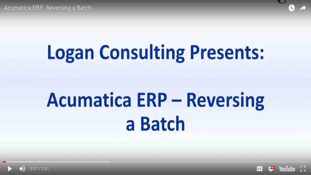 Acumatica ERP- Reversing a Batch