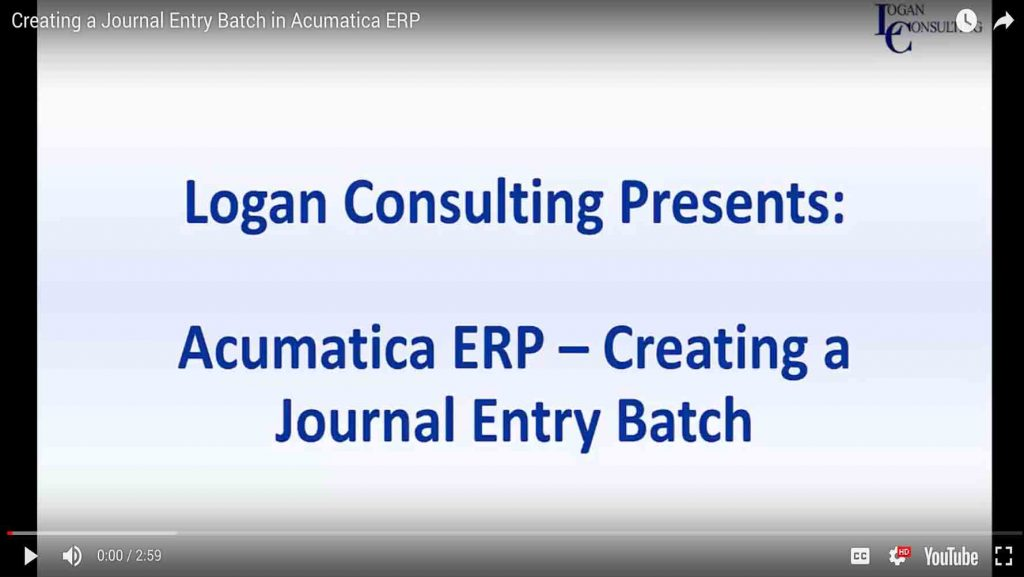 Creating a Journal Entry Batch in Acumatica ERP