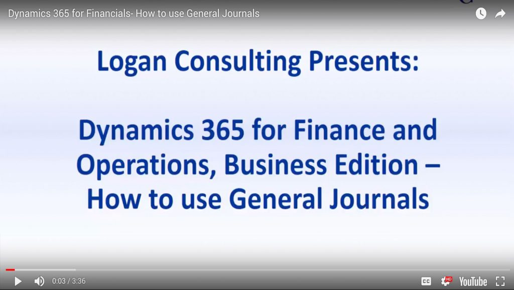 Dynamics 365 for Financials- How to use General Journals