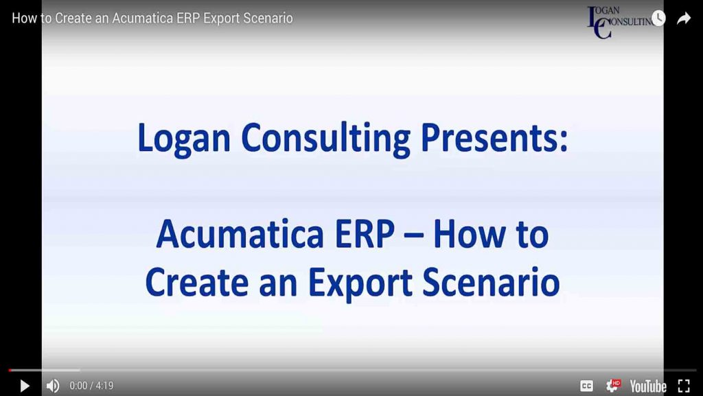 How to Create an Acumatica ERP Export Scenario