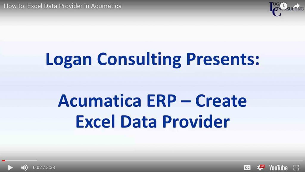 How to: Excel Data Provider in Acumatica