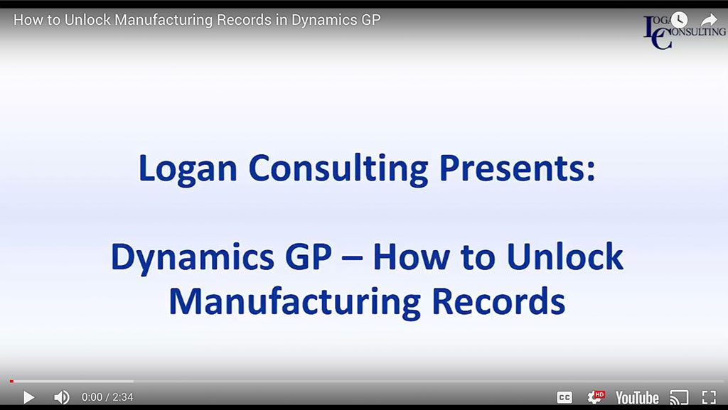 How to Unlock Manufacturing Records in Dynamics GP