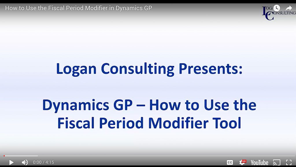 How to Use the Fiscal Period Modifier in Dynamics GP