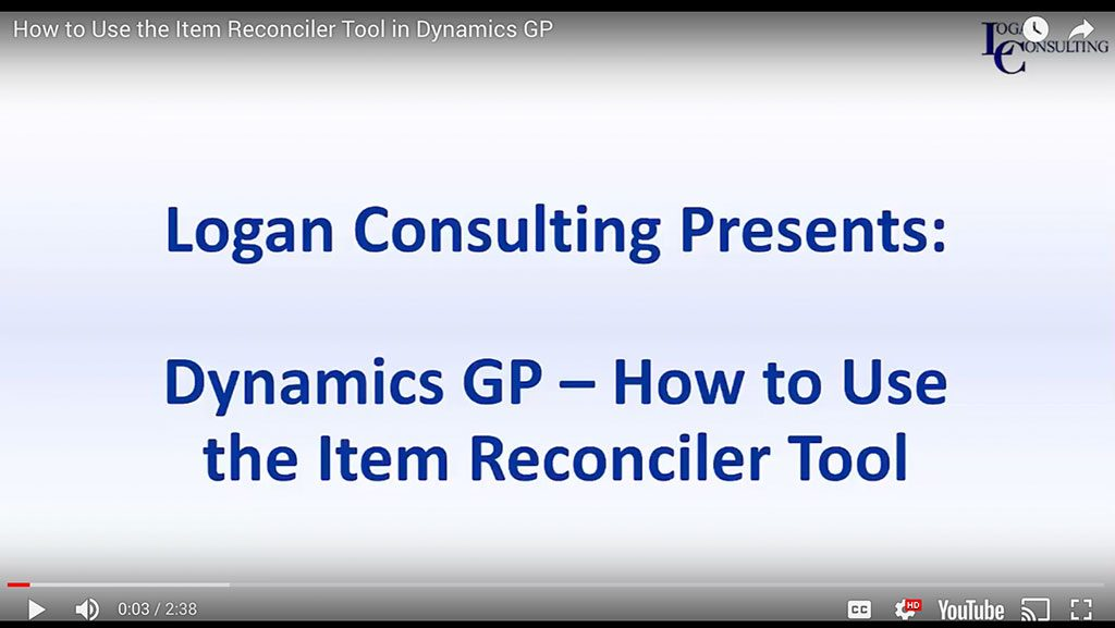 How to Use the Item Reconciler Tool in Microsoft Dynamics GP