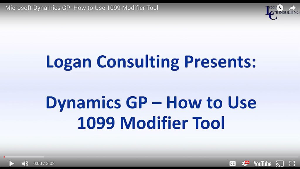 Microsoft Dynamics GP- How to Use the 1099 Modifier Tool