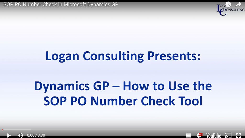 SOP PO Number Check in Microsoft Dynamics GP
