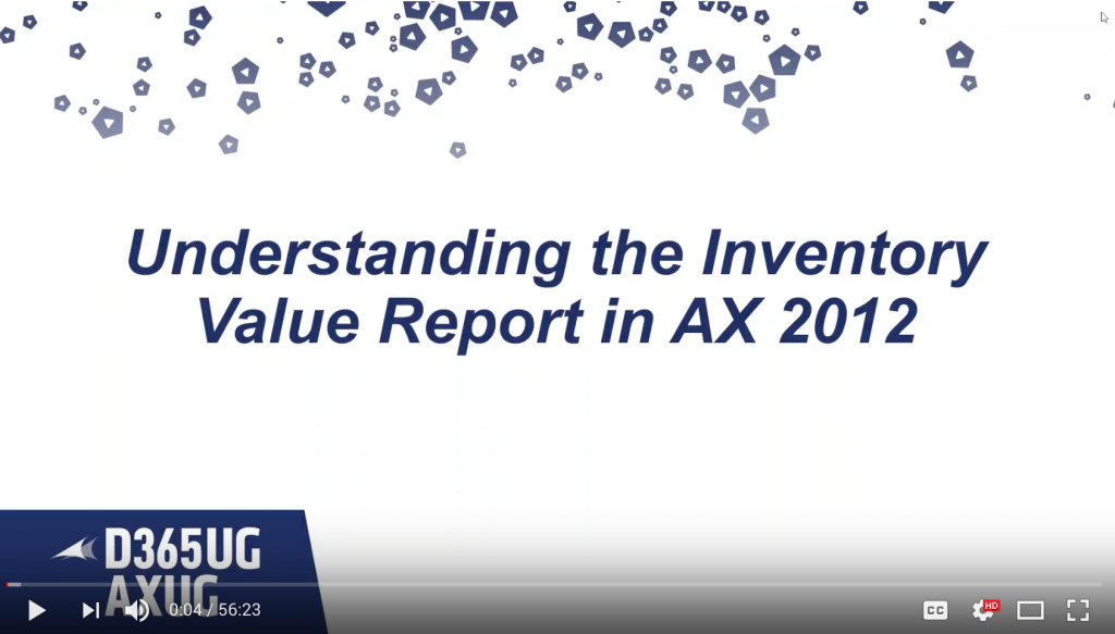 Understanding the Inventory Value Report in AX 2012