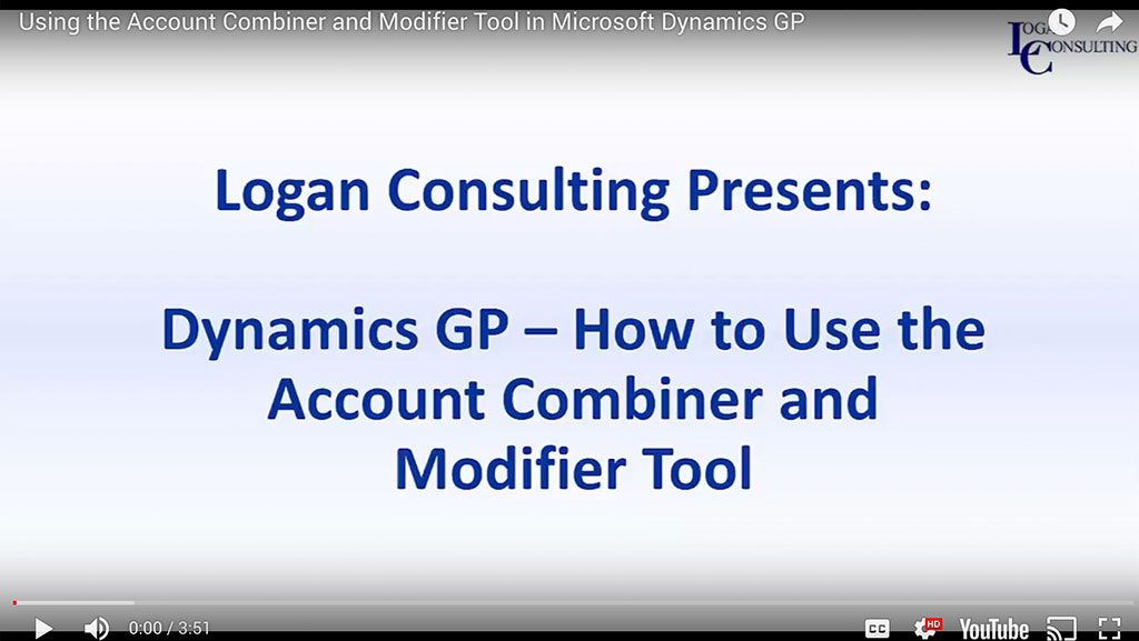 Using the Account Combiner and Modifier Tool in Microsoft Dynamics GP