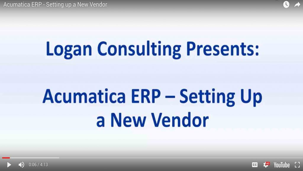 acumatica erp setting new vendor