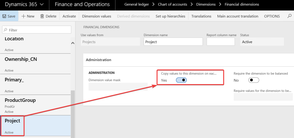 Copying Financial Dimensions to Records in Dynamics 365 for