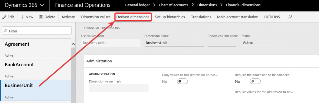 Derived Dimensions in Dynamics 365 for Finance and