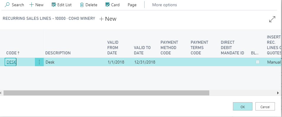 Standard Sales Lines in Sales Invoices