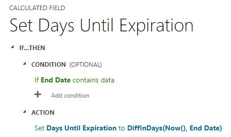 set days until expiration microsoft dynamics crm power automate flows