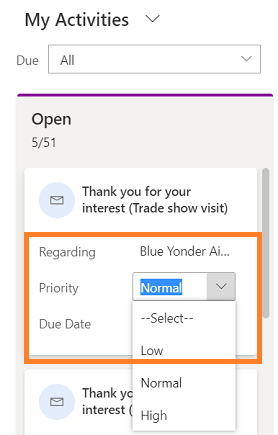 Editing an activity card in Microsoft CRM
