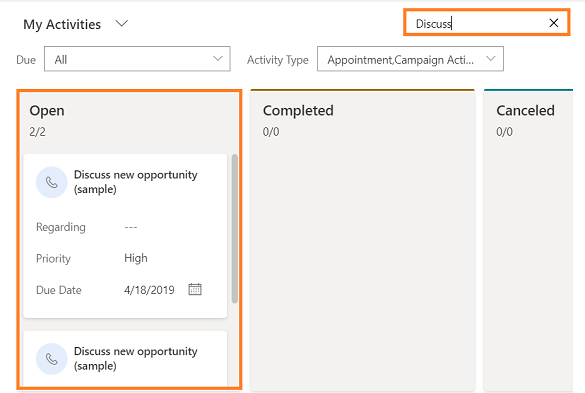 Searching for an activity card in Microsoft CRM